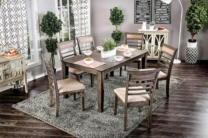 CM3607T-7PK 7 pc taylah weathered grey finish wood dining table set