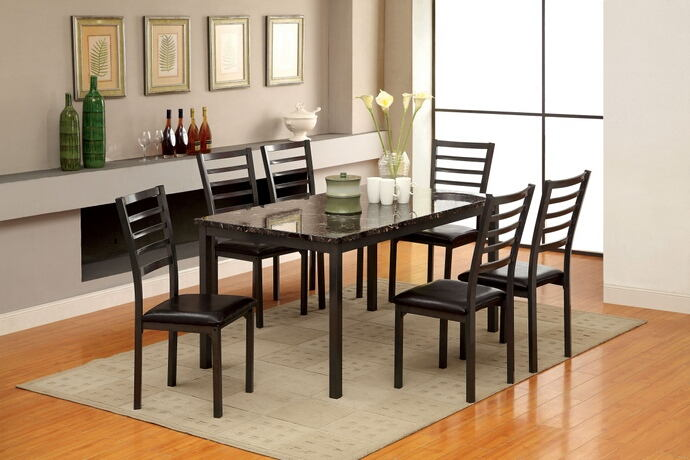 7 pc colman i collection modern style black finish wood dining set with faux marble finish top