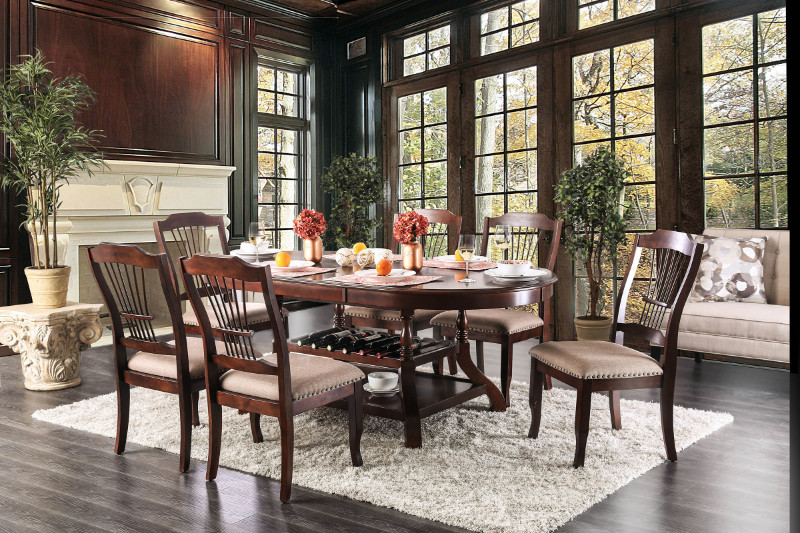 CM3626T-7PC 7 pc Charlton home ranstead piper jordyn brown cherry finish wood storage base dining table set
