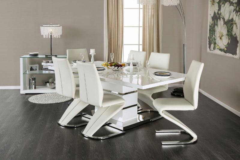 CM3650T-7PC 7 pc Orren ellis mattison midvale modern style white high gloss dining table set