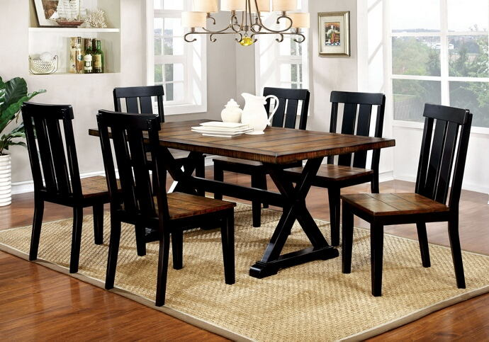 7 pc alana transitional style antique oak and black finish wood base dining table set with plank design