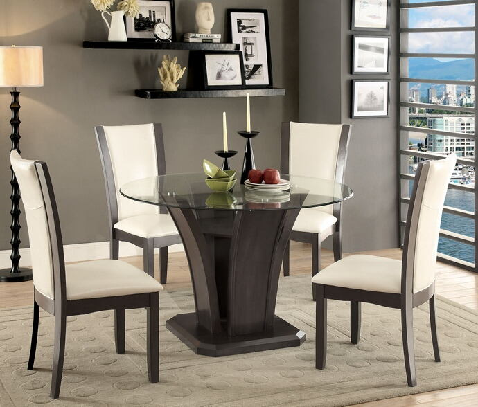 5 pc manhattan i contemporary style gray finish wood base and round glass top dining table set
