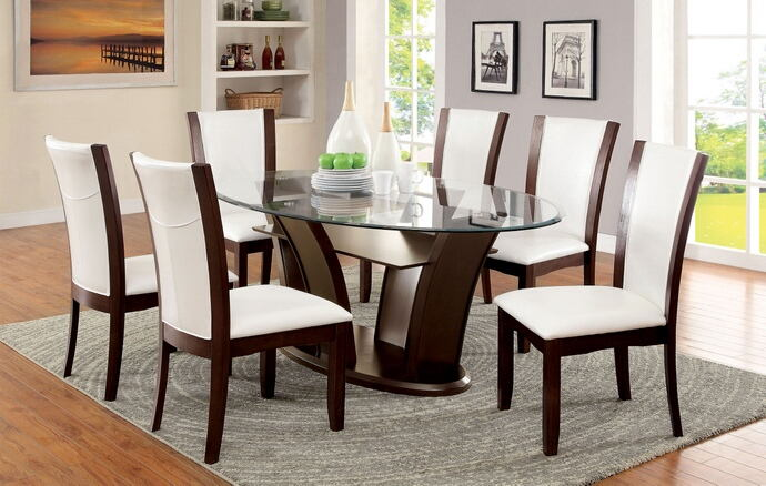 CM3710-OT-WH-7PC 7 pc manhattan ii dark cherry wood finish oval glass top dining set white chairs