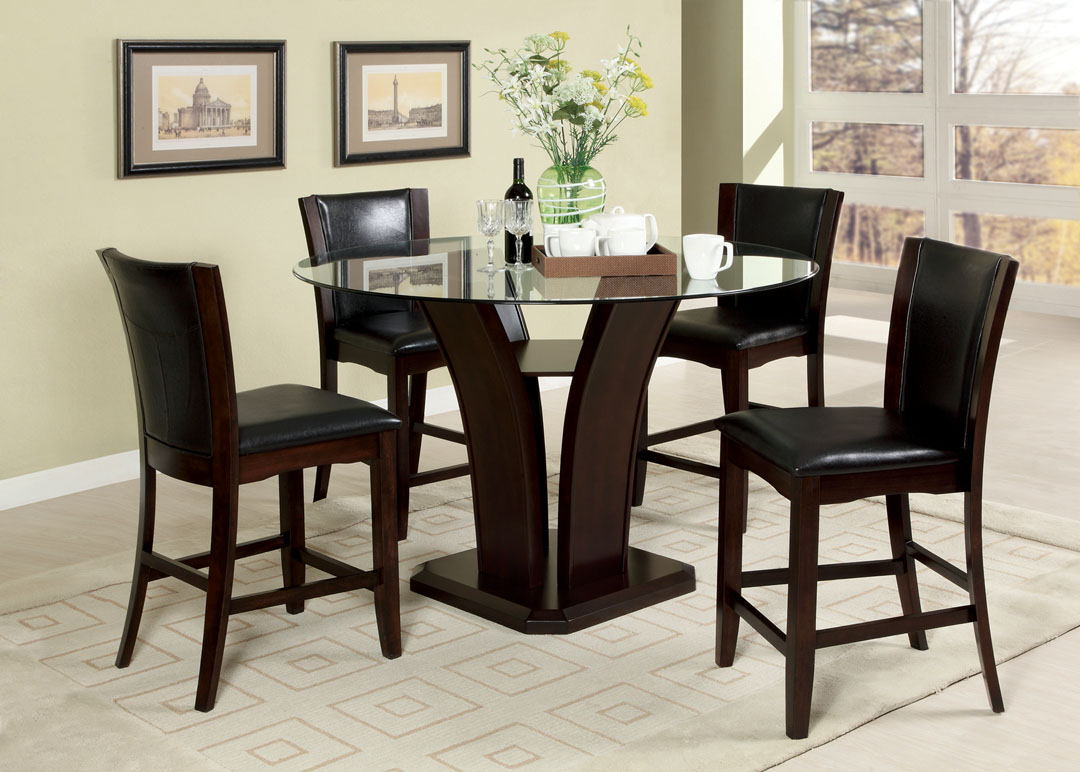 "Furniture of america CM3710PT-5PC 5 pc. manhattan iii brown cherry finish wood 48"" round glass top counter height dining set"