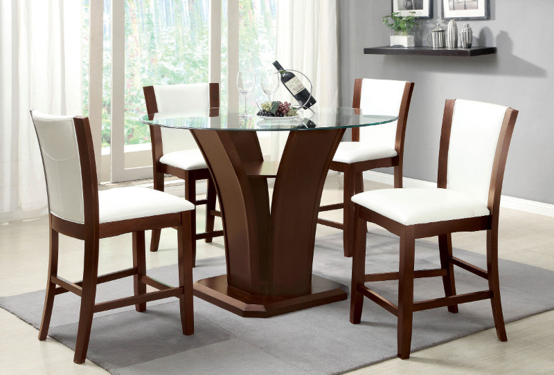 "CM3710PT-WH-5PC 5 pc. manhattan iii brown cherry finish wood 48"" round glass top counter height dining set"