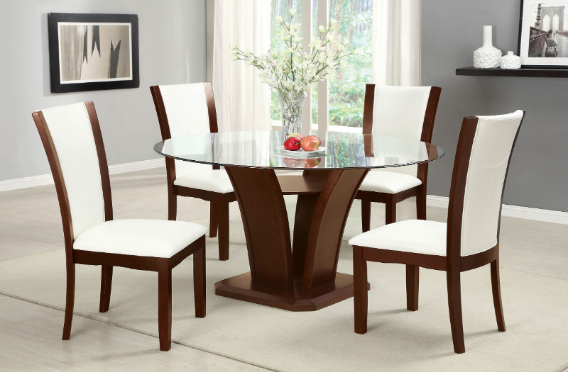 "CM3710RT-WH-5PC 5 pc manhattan ii dark cherry finish wood 54"" round glass top dining table set"