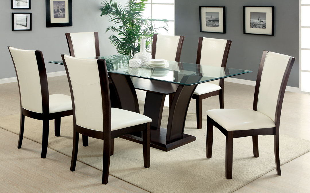 CM3710T-WH-7PC 7 pc manhattan i dark cherry finish wood dining table set white chairs