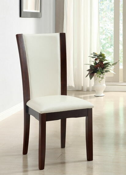 Furniture of america CM3710WHSC Set of 2 dark cherry finish wood side chairs with white faux leather upholstery