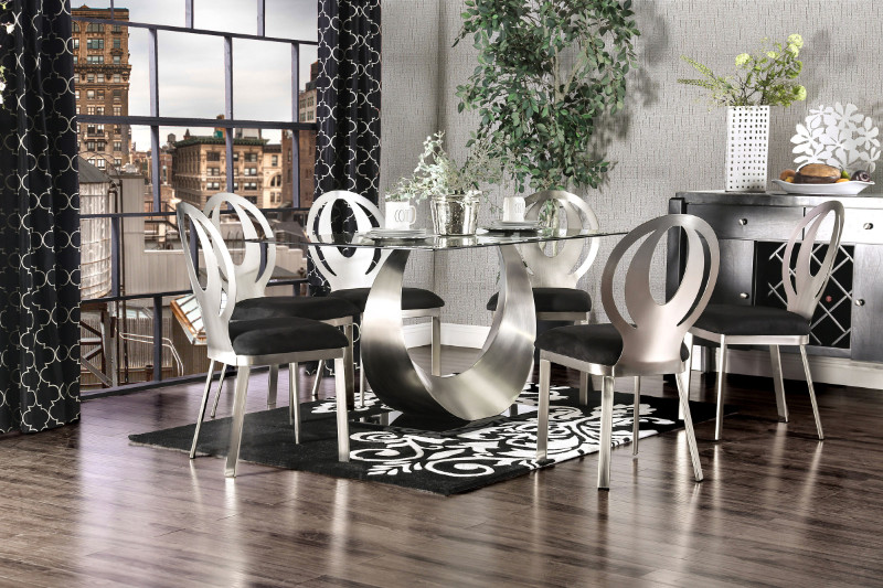 CM3726T-7PC 7 pc Hughes crossing orla modern style satin plated metal base glass top dining table set