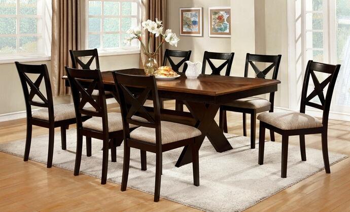 7 pc liberta collection cross leg pedestal dark oak & black finish wood dining table set with cross back chairs