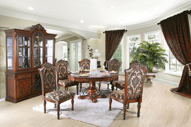7 pc Lucie collection cherry brown finish wood round pedestal ornate accents dining table set