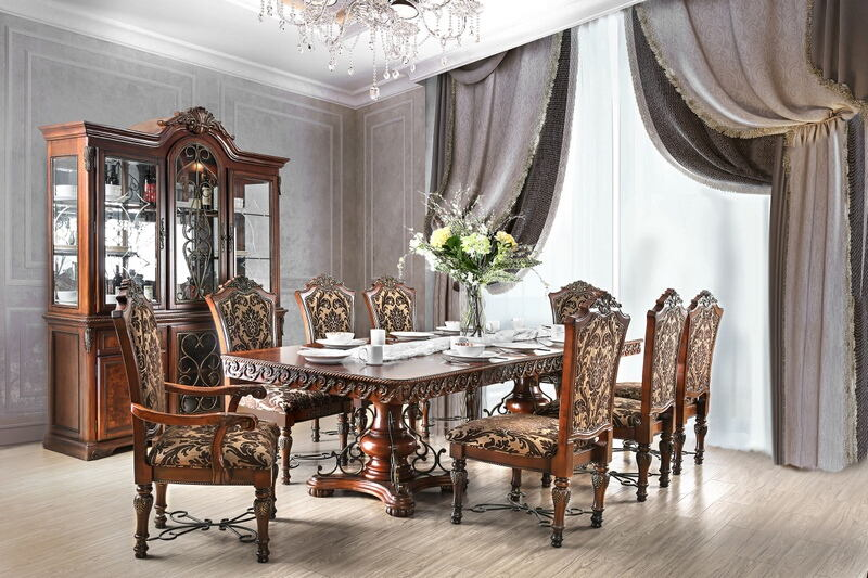 7 pc Lucie collection cherry brown finish wood double pedestal ornate accents dining table set