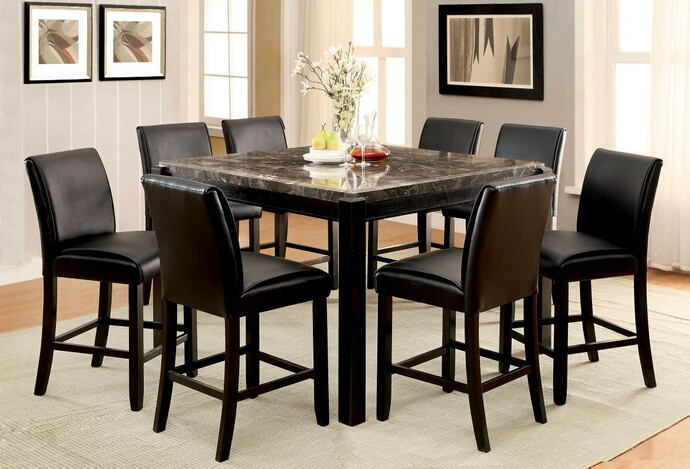 7 pc gladstone ii collection contemporary style black marble top and dark walnut finish wood counter height dining table set with padded chairs