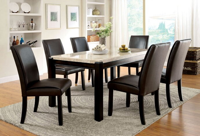 7 pc. gladstone i collection contemporary style dark walnut wood finish and marble top dining set