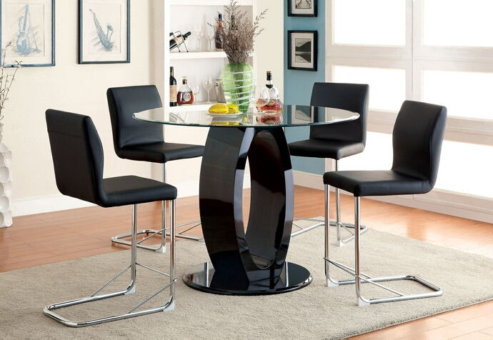 5 pc lodia ii collection modern style black finish wood oval counter height pedestal base dining set with round glass top