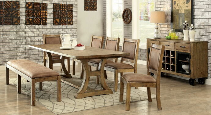 CM3829T-6pc 6 pc Gianna rustic pine finish wood trestle base dining table set