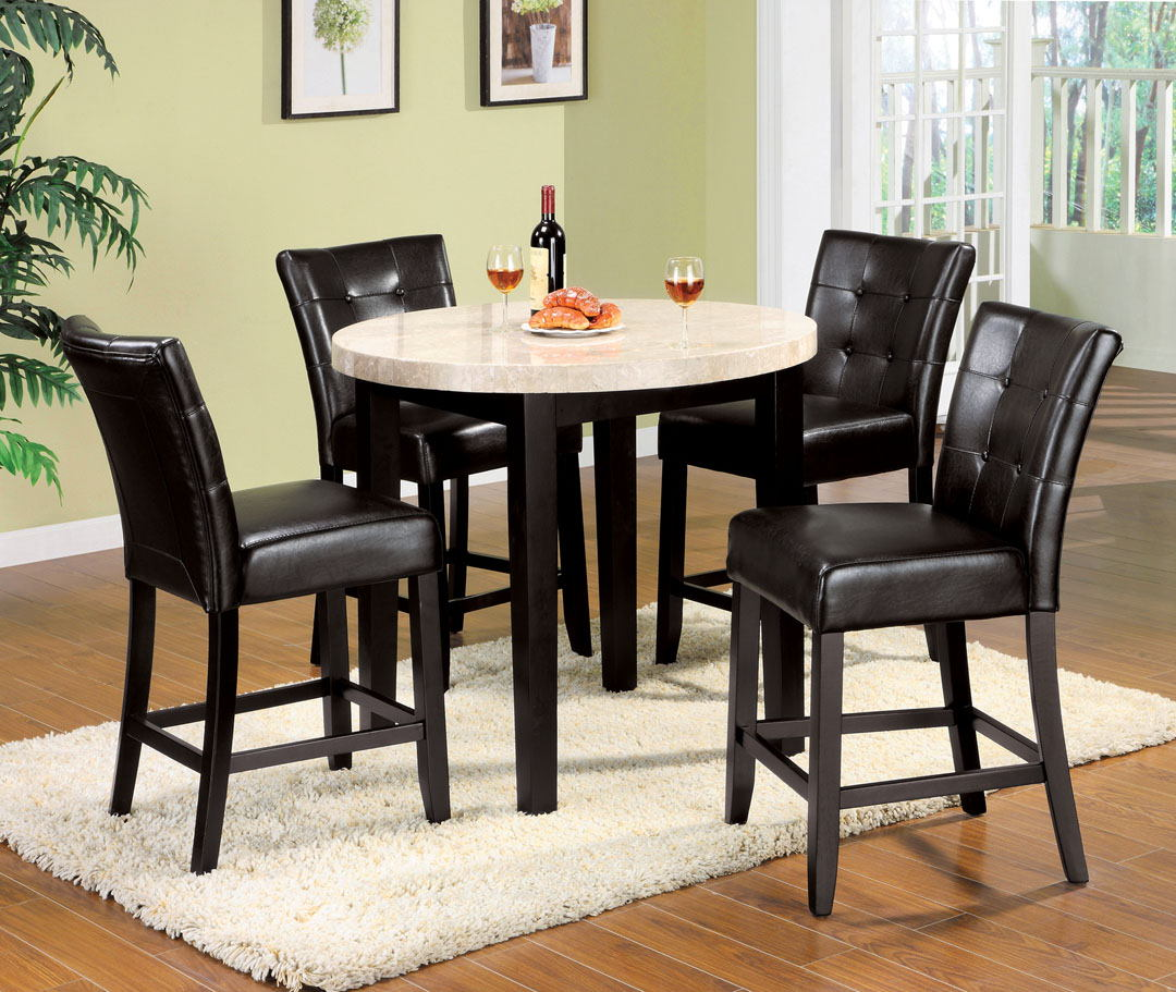 5 pc. marion iii espresso wood finish with a round marble table top counter height set