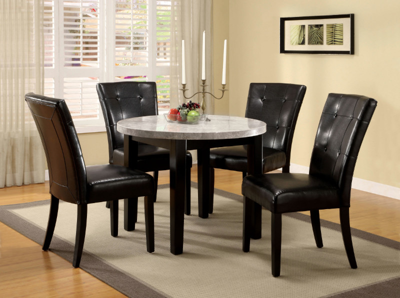 "CM3866RT-40-5PC 5 pc Fleur de lis living minster marion iv espresso finish wood 40"" round marble table top dining set"