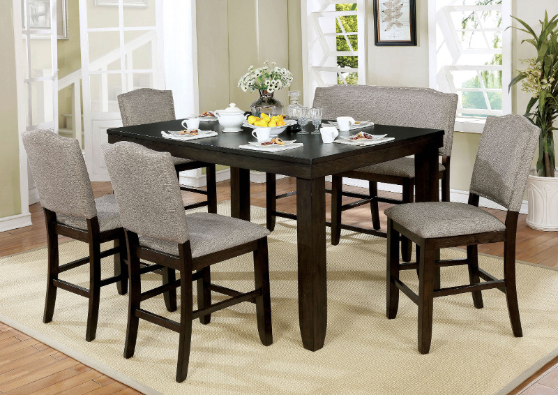CM3911PT-6pc 6 pc Gracie oaks twanna teagan dark walnut finish wood counter height dining table set