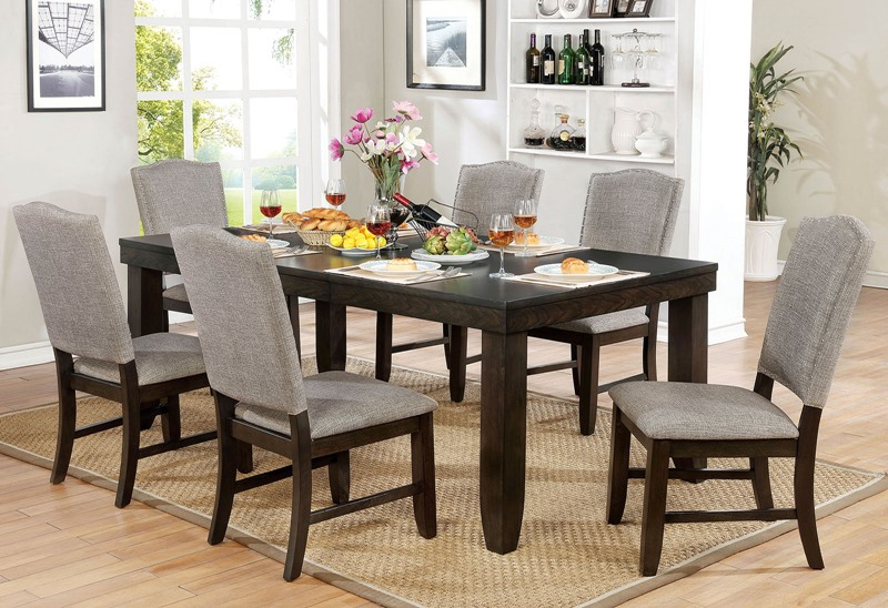 CM3911T-7PC 7 pc Teagan dark walnut finish wood dining table set