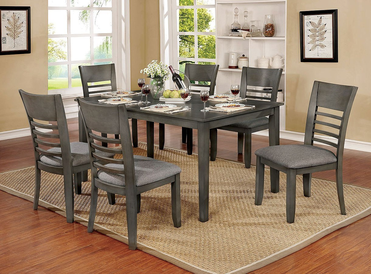 CM3916GYT-60-7PC 7 pc Darby home co lydney hillsview i gray finish wood dining table set