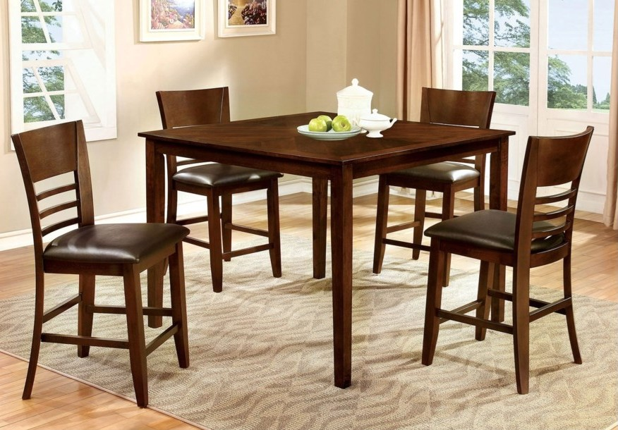 CM3916PT-5PC 5 pc Alcott hill shirlene hillsview II brown cherry finish wood counter height dining table set