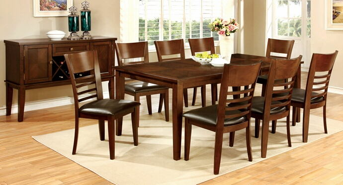 7 pc hillsview i collection transitional style brown cherry finish wood dining table set.