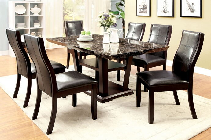 7 pc clayton i collection contemporary style cherry wood finish and faux marble top dining set with dark upholstered chairs