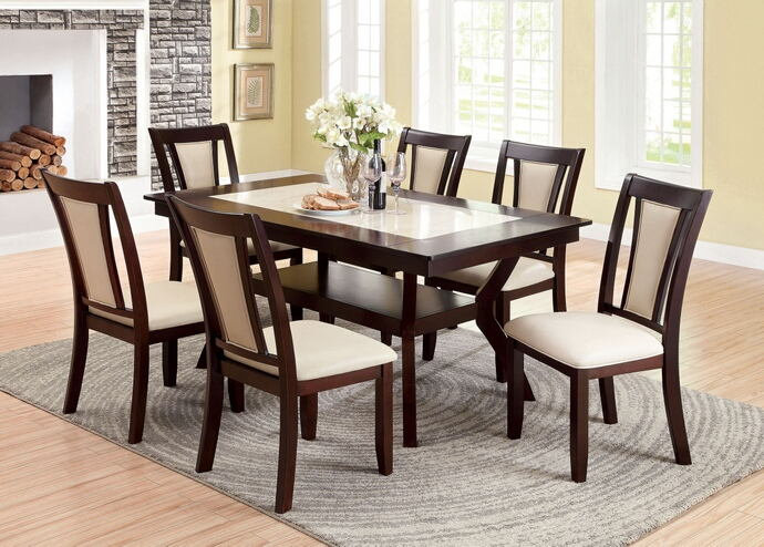 7 pc brent collection contemporary style cherry wood finish and faux marble insert top dining set