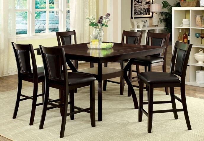CM3984W-PT-DK-7PC 7 pc brent ii dark cherry finish wood counter height dining table set