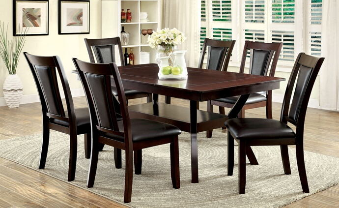7 pc brent collection contemporary style cherry wood finish dining set with dark upholstered chairs