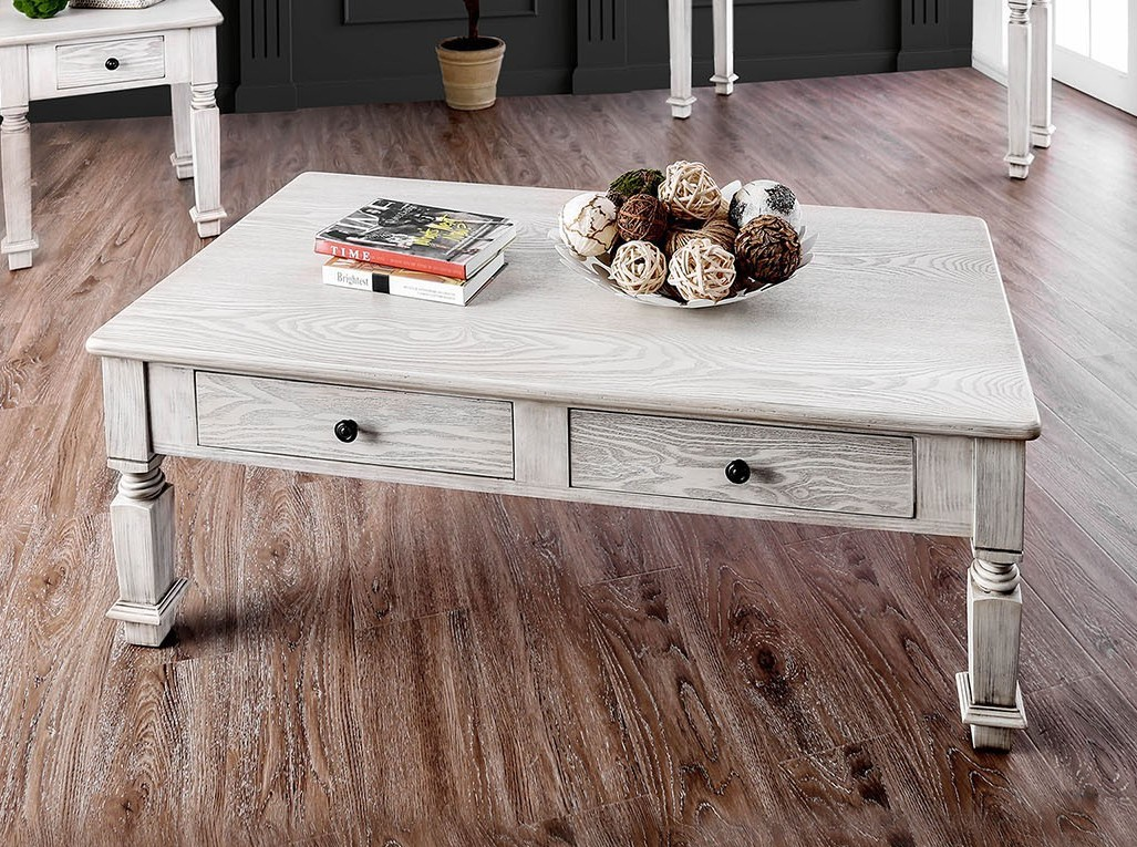 CM4089C Joliet antique white finish wood rustic style coffee table