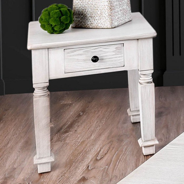 CM4089E Joliet antique white finish wood rustic style end table