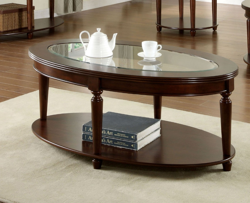 Furniture of america CM4131OC Granvia dark cherry wood finish oval coffee table with beveled table top glass