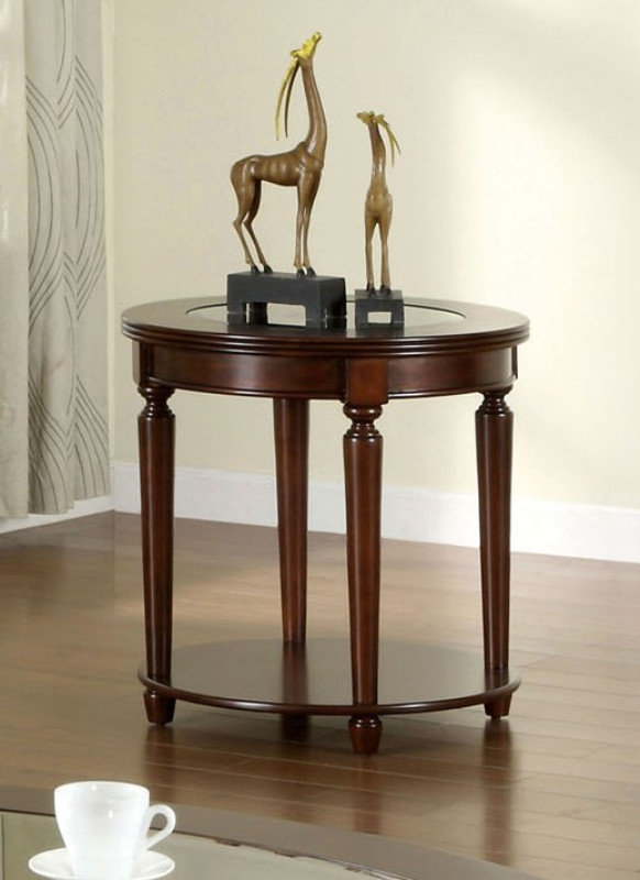 CM4131E Granvia dark cherry wood finish end table with beveled table top glass