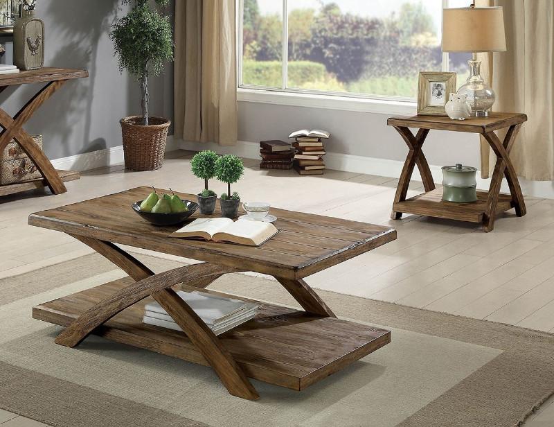 CM4178-3PK 3 pc Bryanna antique light oak finish wood coffee and end table set