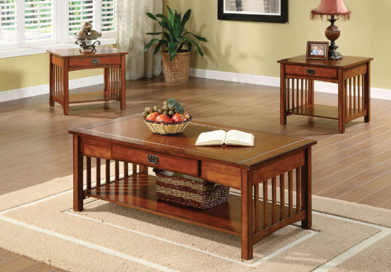 CM4245 3 pc seville oak wood finish mission style table set with drawer under table top