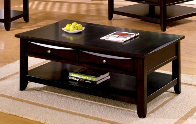 CM4265DK-C-L Baldwin espresso wood finish coffee table with drawers for extra storage