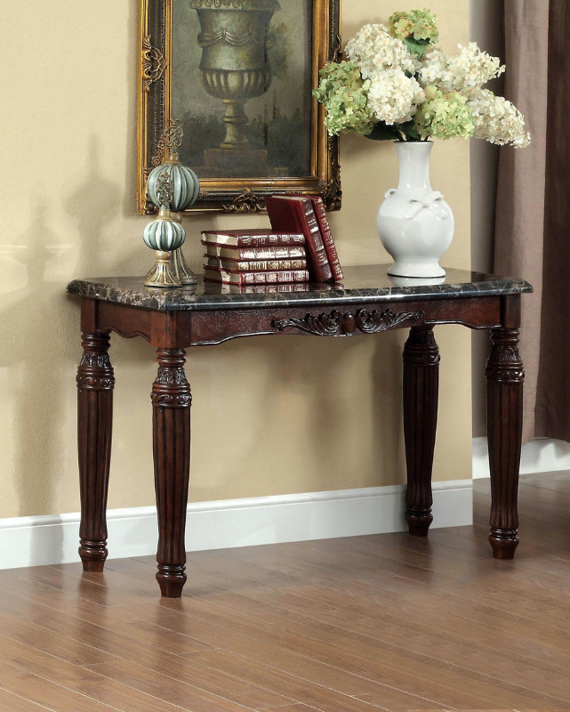 CM4292EX-S Brampton espresso finish wood sofa console entry table with faux marble top