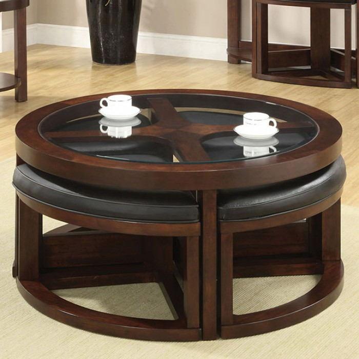 Crystal cove ii dark walnut wood finish coffee glass top table w/ wedge shaped ottomans