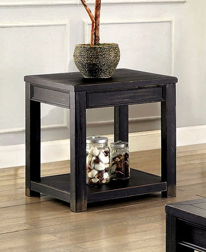 CM4327E Meadow antique black finish wood plank style end table