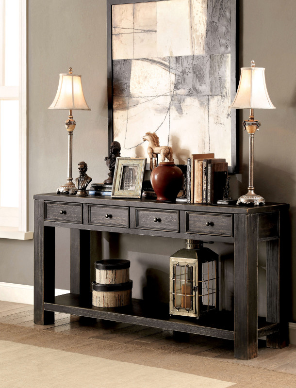 CM4327S Meadow antique black finish wood plank style sofa table