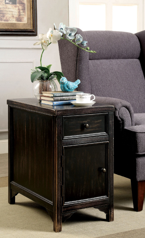 CM4327T Meadow antique black finish wood plank style side table cabinet