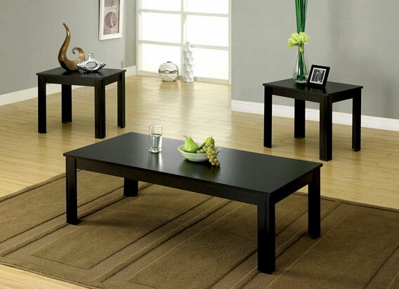3 pc. bay square contemporary style black wood finish coffee table set