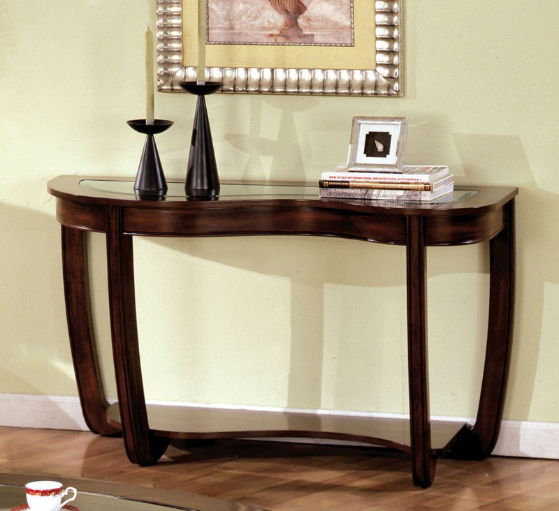 CM4336S Crystal falls dark cherry wood finish abnormity sofa table
