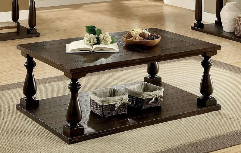 CM4420C Luann dark walnut finish wood coffee table