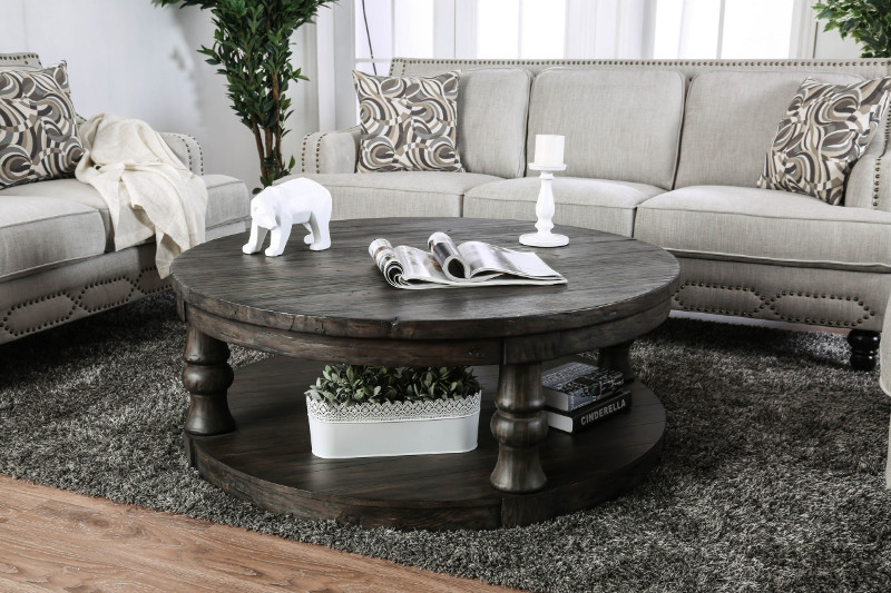 CM4424GY-C Mika antique gray finish wood round coffee table