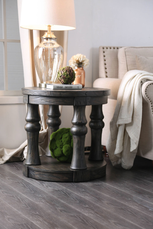 CM4424GY-E Mika antique gray finish wood round end table