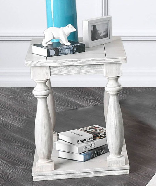 CM4520E Arlington antique white finish wood rustic style end table