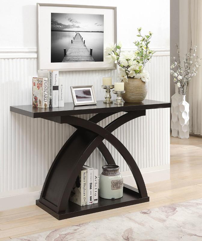 CM4641S Arkley espresso finish wood sofa console entry table